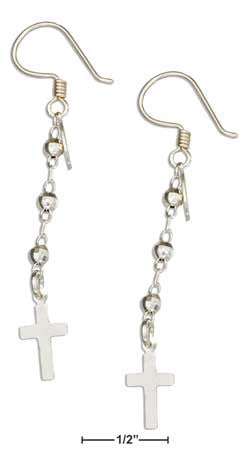sterling silver faceted beads with cross earrings
