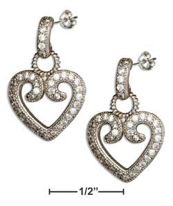 sterling silver doorknocker micro pave cubic zirconia heart dangle earrings