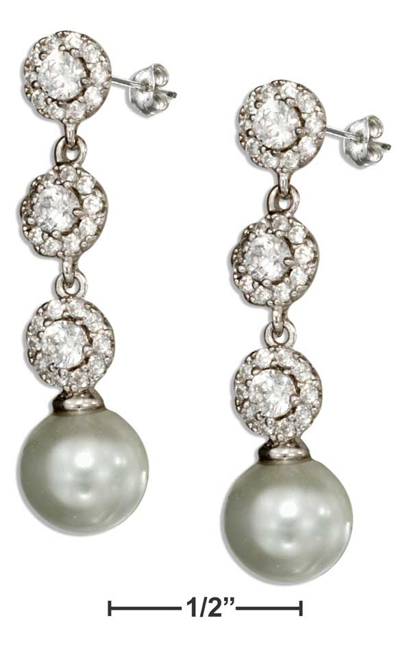 Sterling Silver Cubic Zirconia & Cultured Pearl Post Drop Earrings