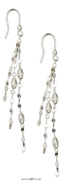 sterling silver Italian triple strand twist and diamond cut bead earrings-temp out of stock