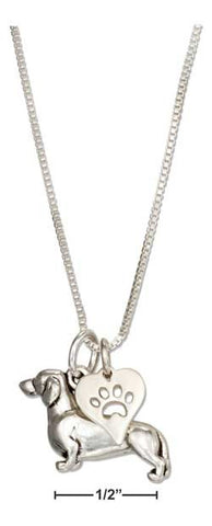 "sterling silver 18"" dachshund necklace with dog paw print heart pendant"
