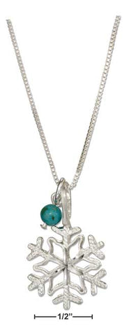 "Sterling Silver 18"" Snowflake Pendant Necklace W/Blue Riverstone Bead"