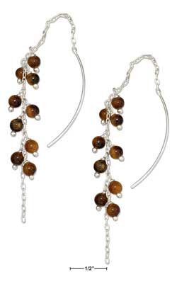 sterling silver multi-bead dangling tiger eye ear thread earrings