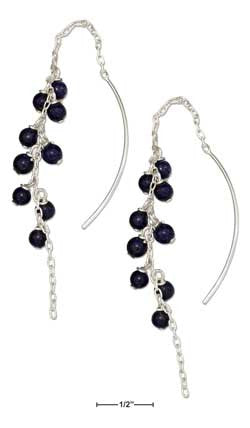 sterling silver multi-bead dangling lapis ear thread earrings