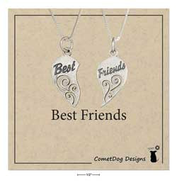 "sterling silver 18"" ""Best friends"" mizpah heart necklace set"