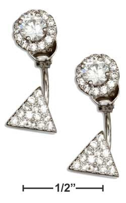 sterling silver cubic zirconia round triangle front & back earrings