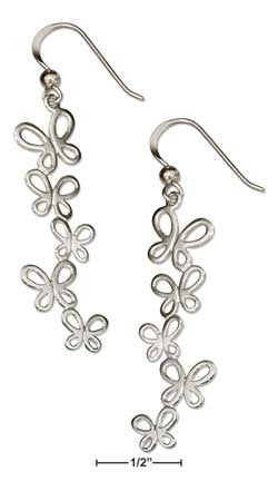 sterling silver cascading butterfly earrings on french wires