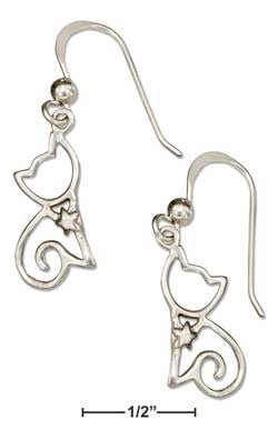 sterling silver silhouette sitting cat earrings on french wires