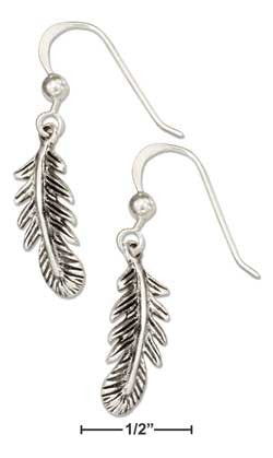 sterling silver antiqued small feather earrings on french wires