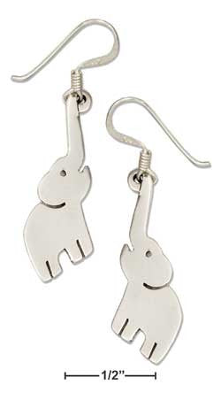sterling silver elephant with reaching trunk earrings on french wires