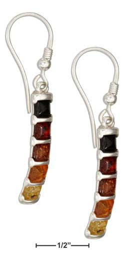 sterling silver multicolor squares baltic amber earrings