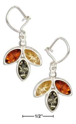 sterling silver triple marquise multicolor amber earrings