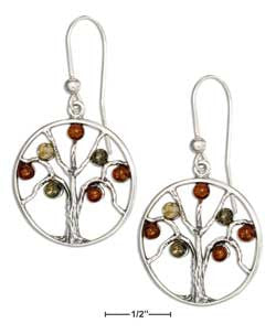 sterling silver multicolor baltic amber tree earrings
