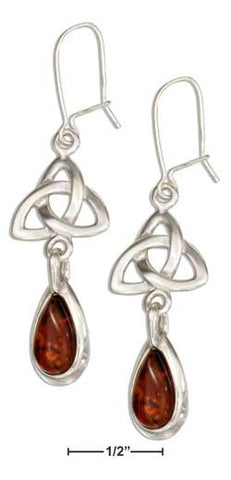 sterling silver celtic trinity knot earrings with baltic amber teardrops