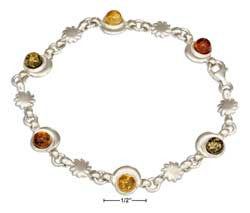 "sterling silver 7"" multicolor baltic amber moon and sun link bracelet"