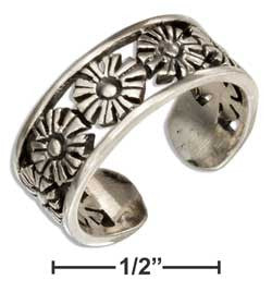 sterling silver open daisy flowers toe ring