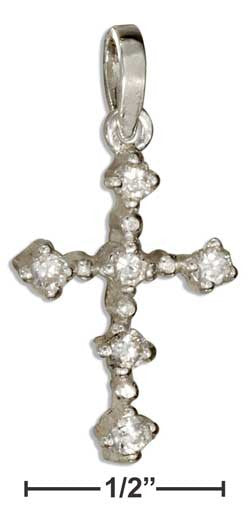 sterling silver cross pendant with clear cubic zirconia stones