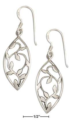sterling silver marquise shape vine leaves earrings