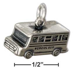 sterling silver 3D school bus charm
