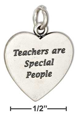 "sterling silver heart ""teachers are special people"" message charm"