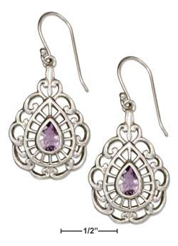 sterling silver filigree teardop amethyst earrings