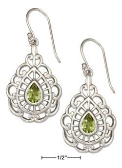 sterling silver filigree teardrop peridot earrings
