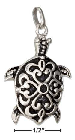 sterling silver 3D fancy turtle charm