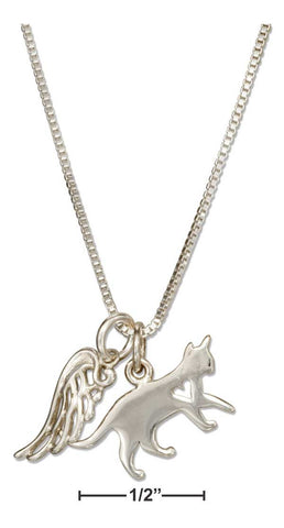 "Sterling Silver 18"" Cat W/Heart Cutout & Angel Wing Necklace"