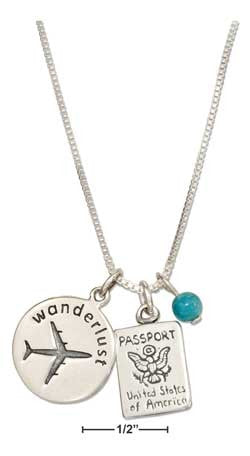 "Sterling silver 18"" wanderlust pendant necklace with passport charm & blue bead"