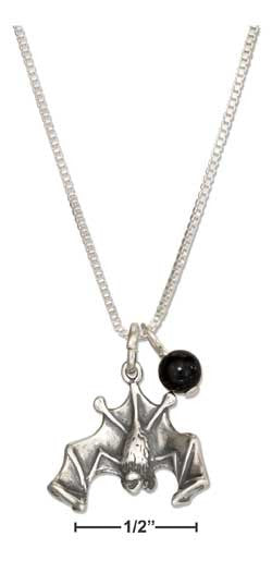 "Sterling silver 18"" Halloween flying bat pendant necklace with black onyx bead"