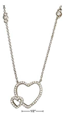 "sterling silver 16.5"" -18.5"" adjustable micro pave cubic zirconia double open hearts necklace"