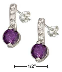 sterling silver clear and purple cubic zirconia earrings