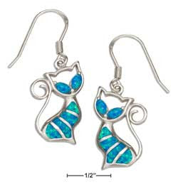 sterling silver synthetic blue opal earrings