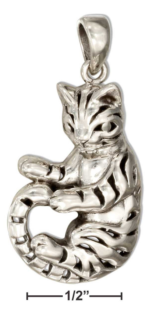 Sterling silver tiger stripe cat pendant