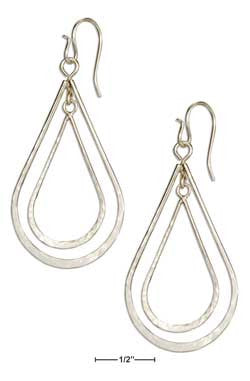 Sterling Silver Double Hammered Teardrop Dangle Earrings