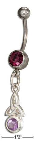 Sterling & Surgical Steel Trinity Knot Belly Button Ring With Amethyst