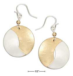 Sterling silver and 12 Karat gold filled interlocking half-moons dangle earrings