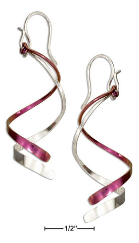 Sterling Silver & Pink Rose Niobium Double Corkscrew Spiral Earrings