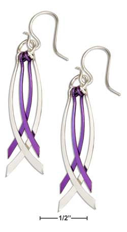 Sterling Silver & Purple Niobium Multi Curved Dangle Earrings