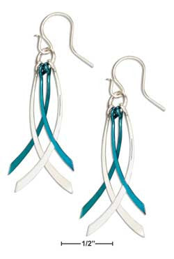 Sterling Silver & Teal Niobium Multi Curved Dangle Earrings