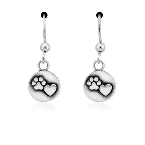 Sterling silver heart & paw print dangle earrings on french wires