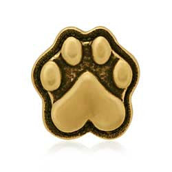 Yellow bronze paw print with heart tie tack hat tack pin