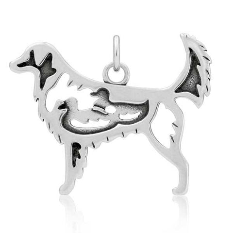 Sterling silver Nova scotia duck tolling retriever pendant body with ducks
