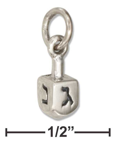 Sterling Silver Three Dimensional Mini Dreidel Charm