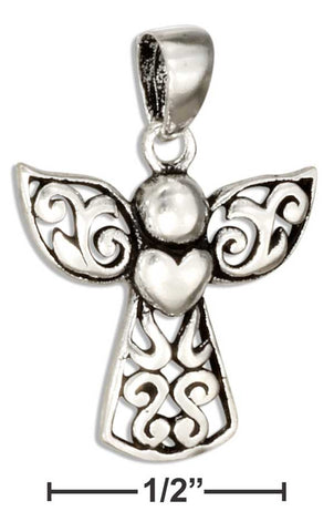 Sterling Silver Filigree Angel Pendant With Heart