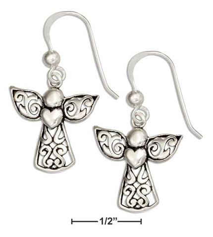 Sterling Silver Filigree Angel Earrings With Heart