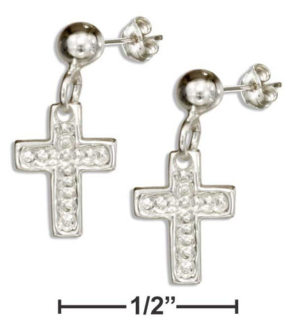 Sterling Silver Dangling Cross Earrings