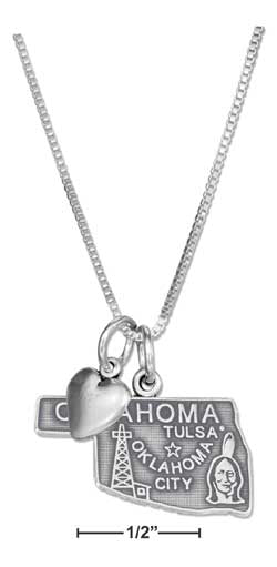 "Sterling Silver 18"" Oklahoma State Pendant Necklace With Heart Charm"