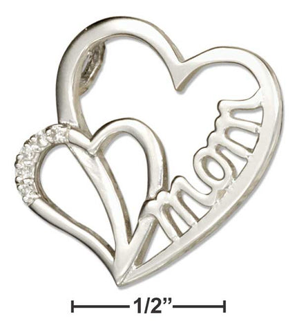 Sterling Silver Double Heart Mom Slider Pendant