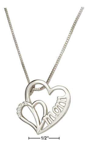 "Sterling Silver 18"" Double Heart ""MOM"" Slider Pendant Necklace"